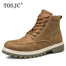 купить TOSJC Autumn Mens Casual Ankle Boots Handsome Round-toe Motorcycle Boots Fashion Desert Boots for Adult Tough Army Work Boots дешево