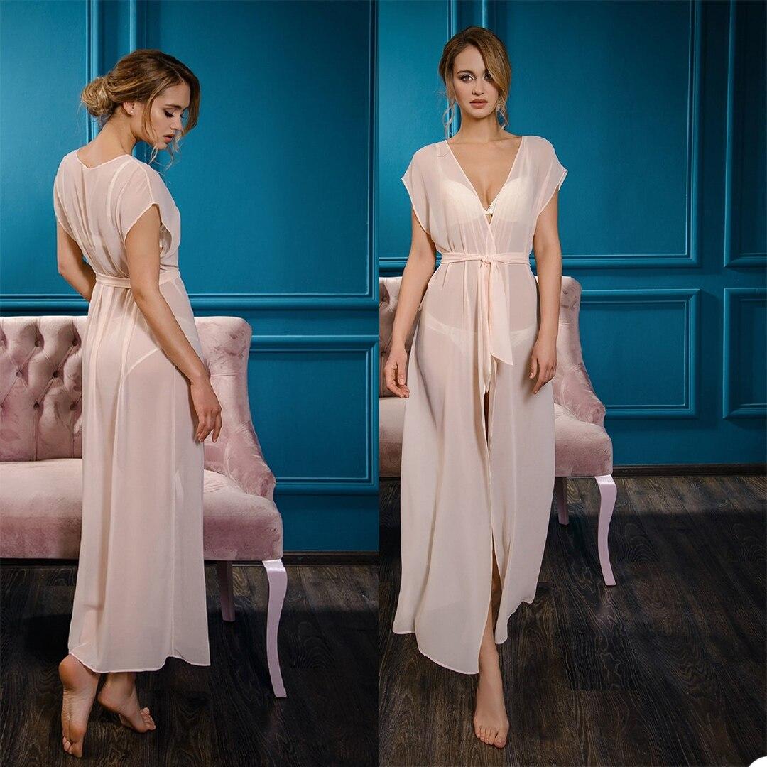 Summer Women Pajamas Chiffon V Neck Short Sleeve Ankle Length Bath Robe With Belt Bathtub Night Gown