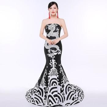 Syrenka styl orientalny suknie wieczorowe długa chińska sukienka dla kobiet czarny Qipao smok odzież Cheongsam projekt dostosowane tanie i dobre opinie Aizaicn Poliester Chinese evening dress Twill Cheongsams Luxury evening dress Tailing annual meeting adult rit 18-25 years old