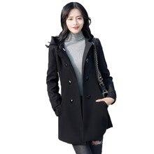 Winter womens woolen coat Europe America 2019 new fashion S-4XL plus size black gray temperament thickening jacket women JD536