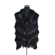 Vest Real-Rabbit-Fur Women Collar Raccoon-Fur Waistcoat/jackets Knitted Natural