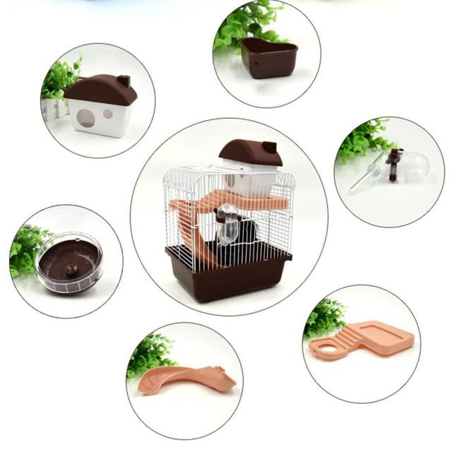 2-storey Pet Hamster Cage With Running Wheel Drinking Water Bottle Food Basin Castle For Small Pet House Mice Home Habitat Decor 4