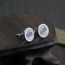 S925 Sterling Silver Jewelry Retro Thai Earrings Women Fashion Personalized Small Fish Creative 9.20mm 2g WTS005