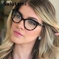 Eyebow Frame Red Leopard Glasses Frame For Women Luxury Brand Round Cat Eye Clear Eyeglasses Female Elegant Transparent Shades