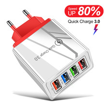 USB Charger 4 Ports Quick Charge 3.0 for iPhone XR Samsung Wall Mobile