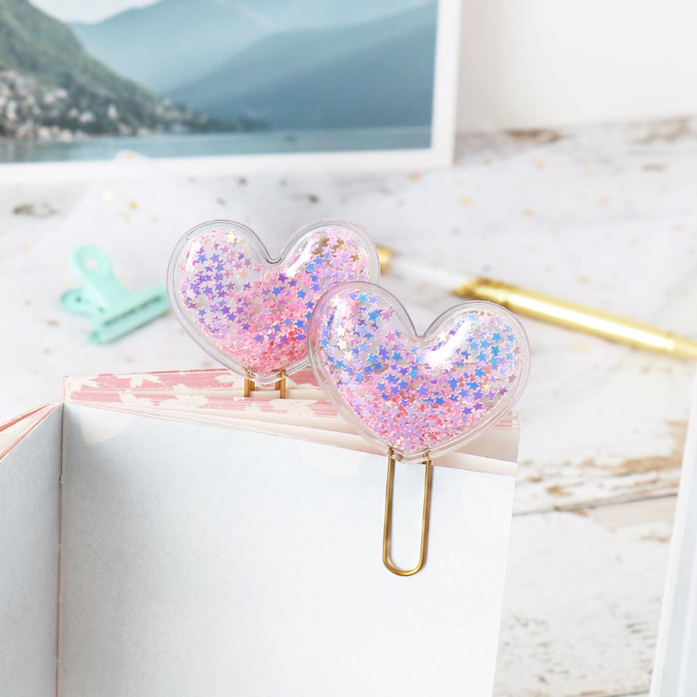 TUTU 2PCS Heart Shape Bookmark Original Creative Candy Paper Clip Office School Metal Index Paper Clips Stationery H0369