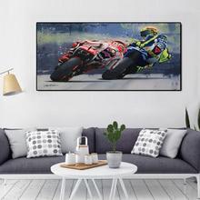 Акварельные масляные принты Валентино Росси плакат мотоцикл Холст Картина Настенная художественная декоративная картина для гостиной домашний декор