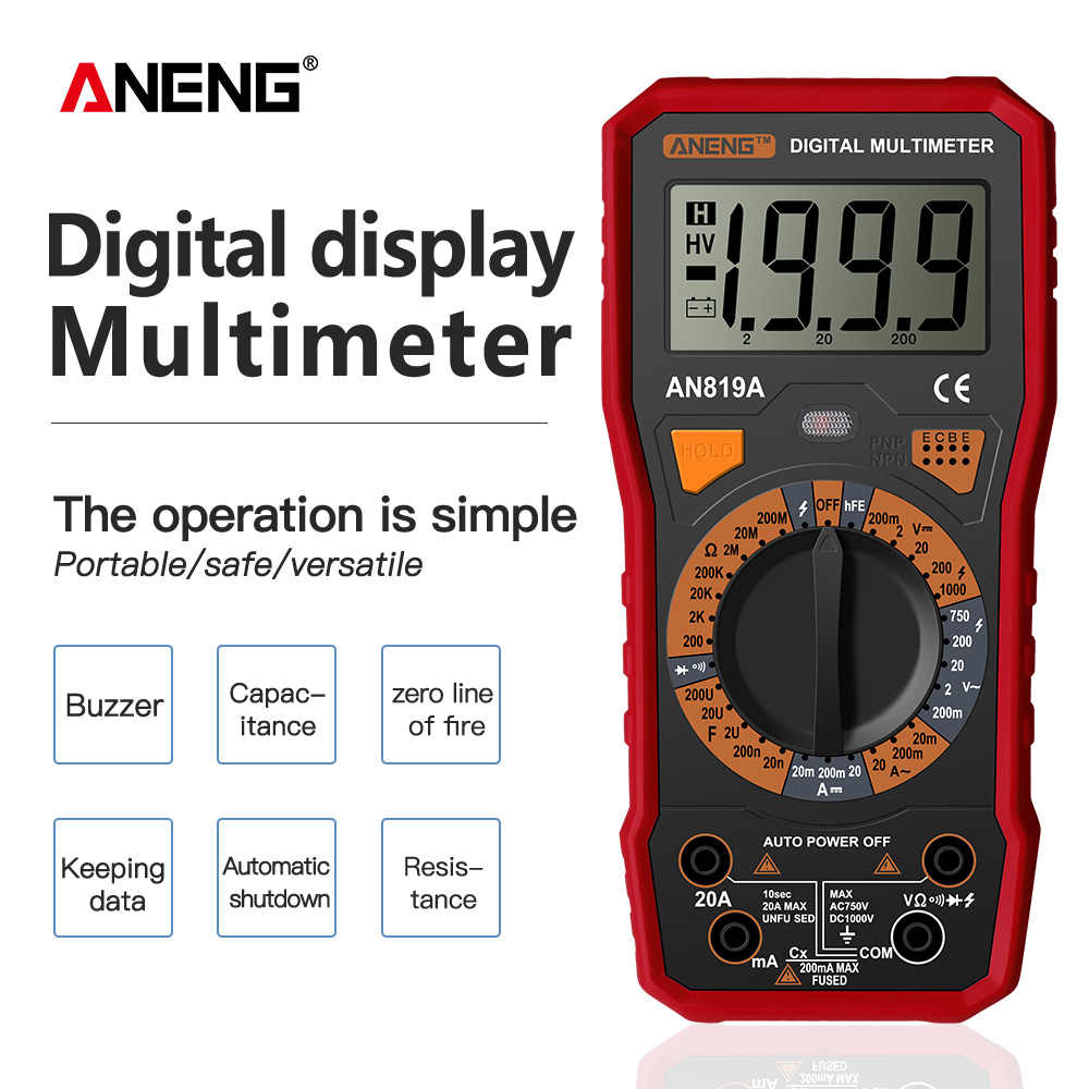ANENG AN819A 디지털 멀티 미터 esrmeter true rms 디지털 멀티 미터 테스터 전압계 배터리 테스터 multimetro richmet
