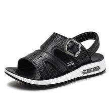 Children Non-slip Beach Shoes Kids Solid Soft Summer Sandals Boys 2019 New Genuine Leather Gladiator