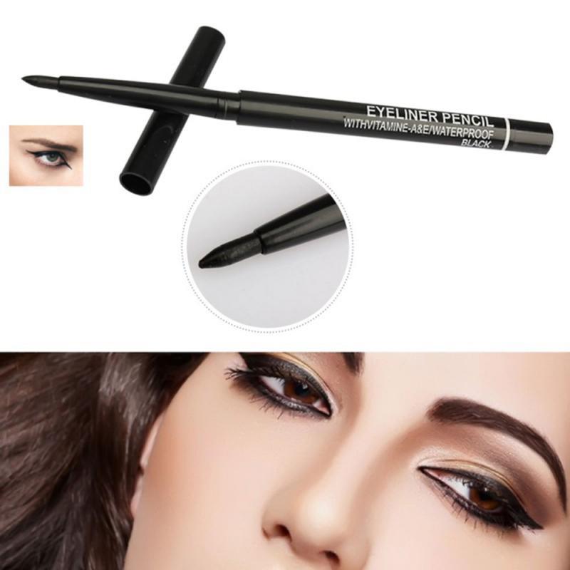 Lápiz Delineador de Ojos de rotación automática, resistente al agua, larga duración, a prueba de sudor, no florece, TSLM1 maquillaje de ojos, nuevo, color negro, 1 Uds.