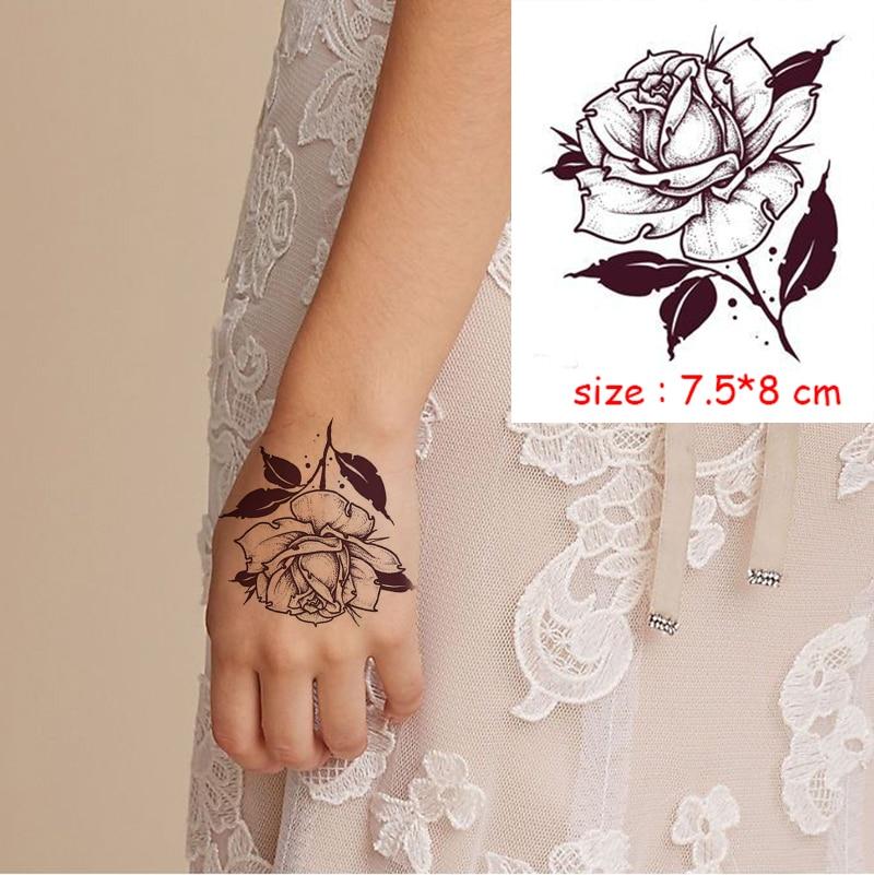 Temporary Waterproof tattoo sticker mandala flower necklace pattern hand back fake tatoo water transfer flash body art tatto 5
