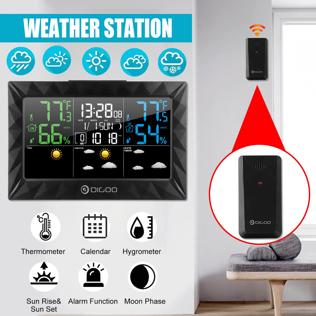 DIGOO DG-8270A Indoor Outdoor Weather Station + 100m Forecast Sensor Thermometer Hygrometer Meter Calendar 3CH Backlight Black