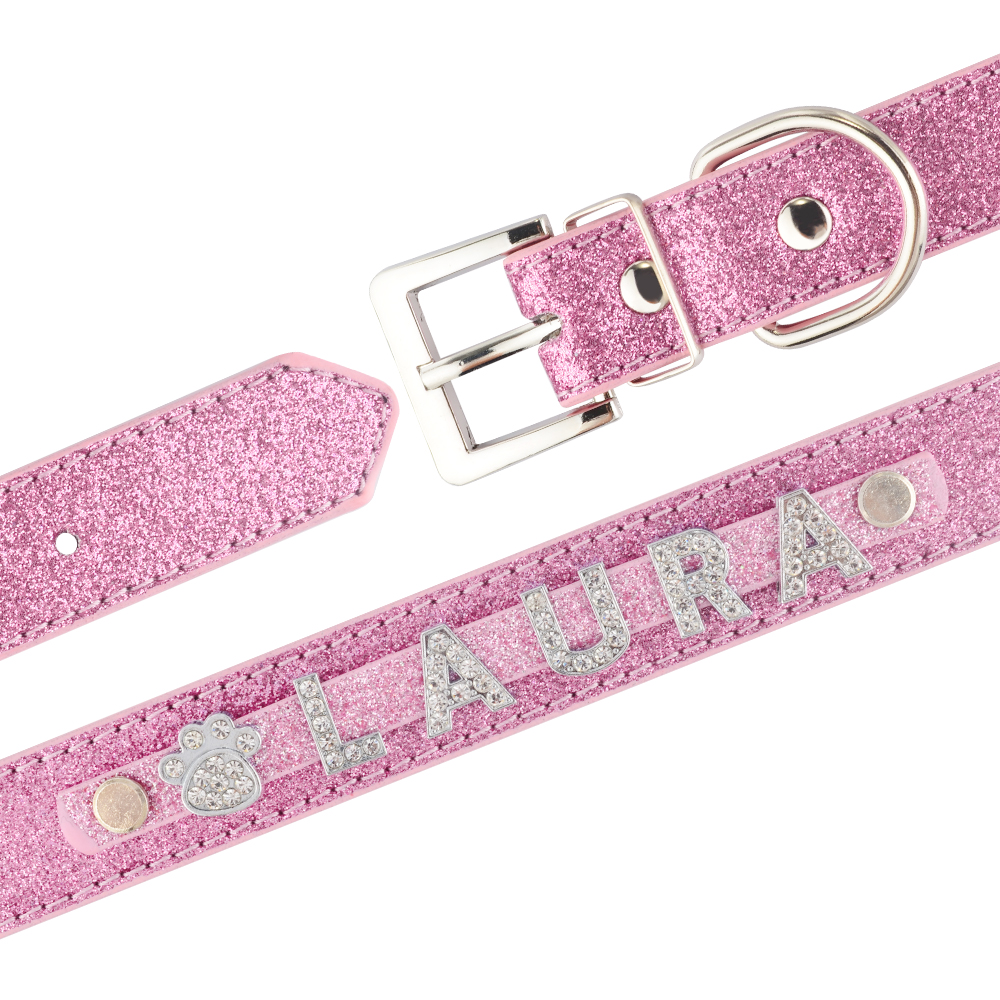Personalized Dog Collar Leather Rhinestone Bling Charms Custom Pet Dogs Cat Name 4