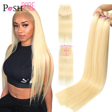 POSH BABE 5x5 Closure with 2 3 4 Bundle Weave 28 inch 613 Honey Blonde Colored Remy Brazilian Straight Hair Bundles with Closure