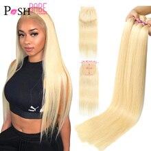 POSH BABE 5x5 Verschluss mit 2 3 4 Bündel Weben 28 zoll 613 Honig Blonde Farbige Remy Brasilianische gerade Haar Bundles mit Verschluss