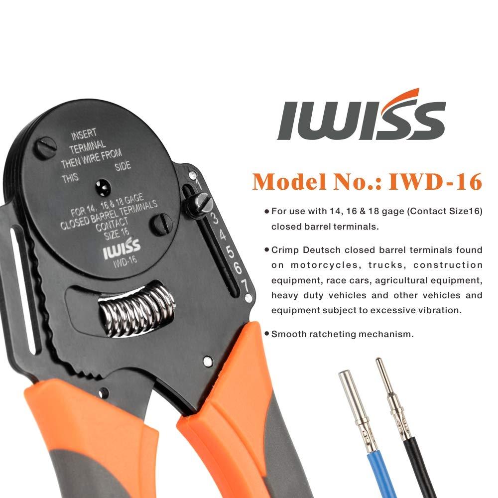 Tools : IWISS IWD-12 16 20 mini hand tool Closed Barrel Crimper 4 Way Indent 8 Impression Type for Deutsch connectors crimping plier
