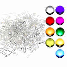 100 Stks/partij 5Mm Led Light Emitting Diode Flat Top Warm Wit Rood Blauw Groen Uv Oranje Geel Roze Kleur bulb Lamp Indicator