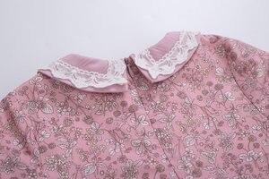 Image 5 - Pettigirl toptan yaz çiçek baskılı elbise parti elbise bebek yaka çekiliş kollu çocuk butik elbise + şapkalar