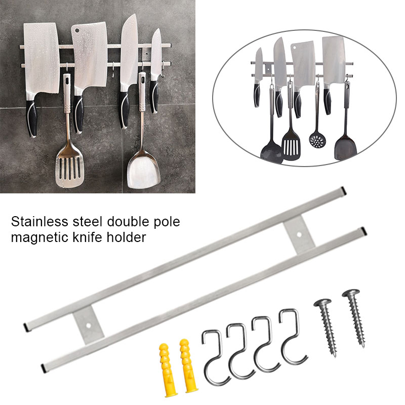 Wall Mount Magnetic Knife Storage Holder Chef Rack Home Decor Utensil Stainless Steel Kitchen Tool  GHS99