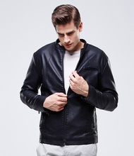 European Fashion Winter Jacket Men High Quality Stand Collar PU Leather Jacket Thick Velvet Warm Coats Windproof Biker Jacket 2017 new lady coats winter jacket leather coat high quality and sexy women fashion thick coats thermal super warm jacket 2017