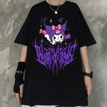 Harajuku streetwear desenhos animados anime mulher tshirts novo preto casual manga curta camiseta homme japão manga unisex roupas