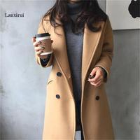 spring new imitation wool coat Slim double breasted black jacket ladies long coat fashion