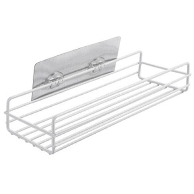 Practical Iron Shelf Adhesive Storage Rack Holder Shower Shampoo Organizer Kitchen Bathroom Accessories