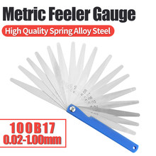 100B17 Feeler Gauge Metric Thickness Gauge Set Blade Gap Filler Tappet Valve Thickness Measurement Layout Tool Gages Metering