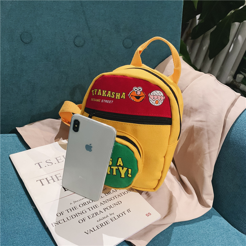 New Style Korean Style Baby Nursery Sesame Street Men And Women Small Children Contrast Color Backpack Small Book Bag Men And Wo