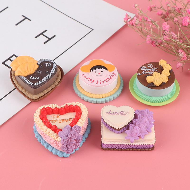 Birthday Cake Model Simulation Food Miniature Figurine Pretend Play Kitchen Toy Dinner Doll House Accessories Kids Gift