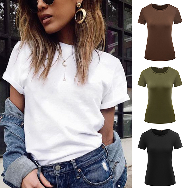 1PC Casual Female Short Sleeve Solid Tops S-XXL Popular T Shirt Hot Sale Plain Basic High Quality Elastic 6 Color Women