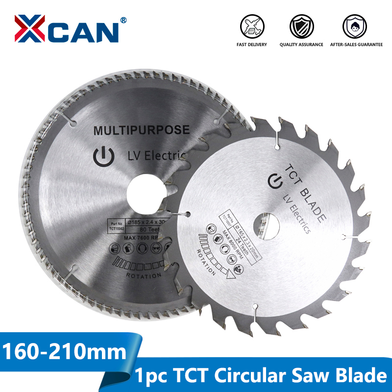 XCAN 1pc Diameter 160-210mm Mulitpurpose TCT Circular Saw Blade   Woodworking Cutting Disc Carbide Tipped Wood Saw Blade