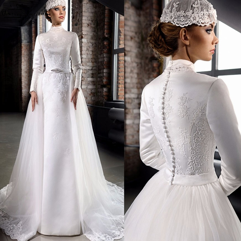 High Neck Muslim Wedding Dresses Long Sleeves Lace Appliques Detachable Train Bride Dress Bridal Gowns Vestido De Noiva 2020