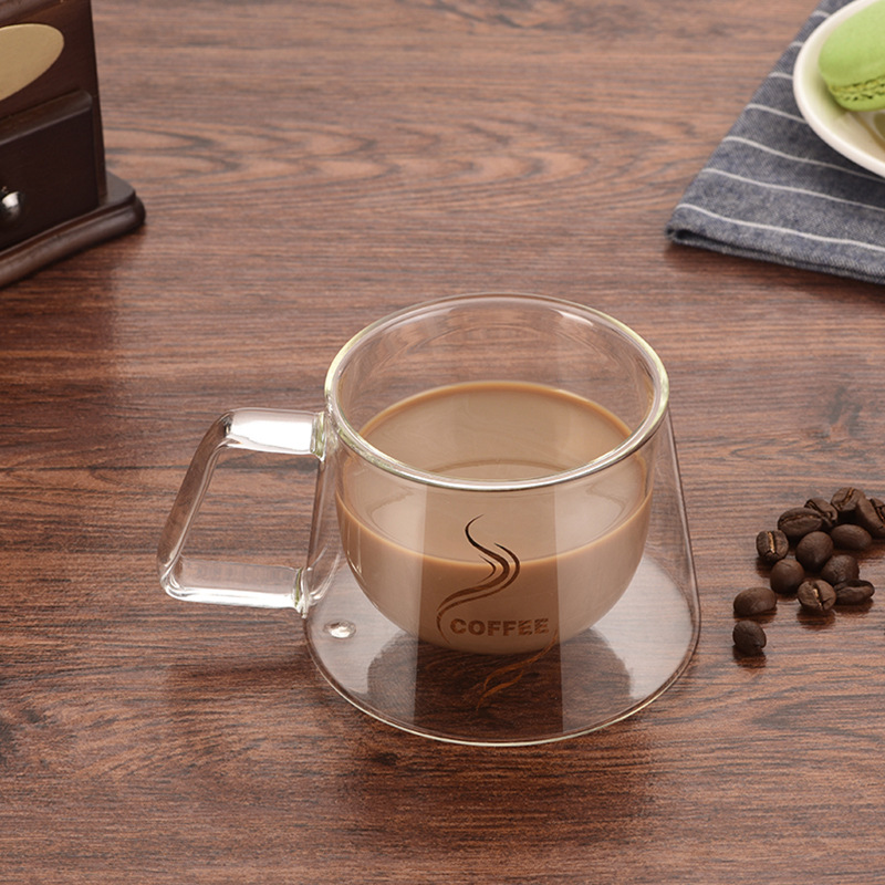 Double Wall Mug Coffee Cup Heat Insulation Office Mugs Double Coffee Glass Mug Table Drinkware Milk Cup