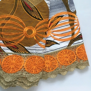 Image 4 - New Design Batik fabric With Lace High Quality Embroidered African Wax Lace Fabric 100% Cotton Nigerian Guipure Wax Lace 6 Yards