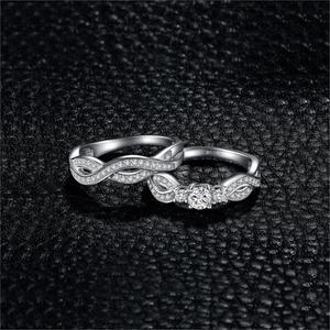 Image 2 - JPalace Infinity CZ zestaw pierścionków zaręczynowych 925 srebro pierścionki dla kobiet obrączki zespoły zestawy ślubne srebro 925 biżuteria