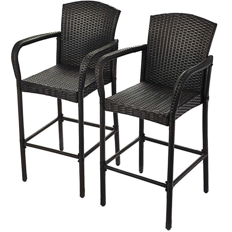 2 Pcs Rattan Bar Stool Stools Mordern For Home Barstool Set High Chair Bar Chairs Chaise Furniture HW52954