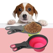 Cat Dog Food Feeder Spoon Measuring Cup Foldable Portable Feeding Scoop Bowl High Quality Materials Measuring Cup Dog Supplies cheap Bowls CN(Origin) Universal Silicone