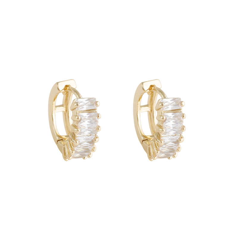 2020 New Arrival Simple Classic Crystal Geometric Hoop Earrings For Women Elegant Fashion Gold Color Metal Party