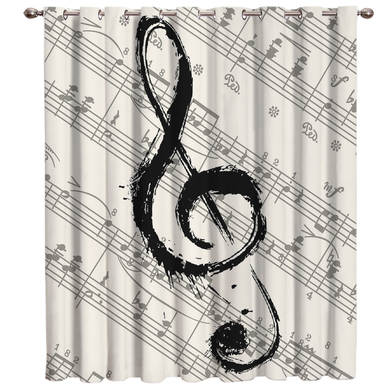 Music Notes Sheet Blackout Window Curtains Dark Living Room Curtain Rod Kitchen Drapes Fabric Indoor