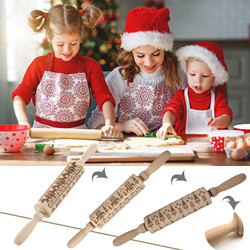 35 x 4.5cm Christmas Embossing Rolling Pin Baking Cookies Noodle Biscuit Fondant Cake Dough Engraved Roller Reindeer Snowflake