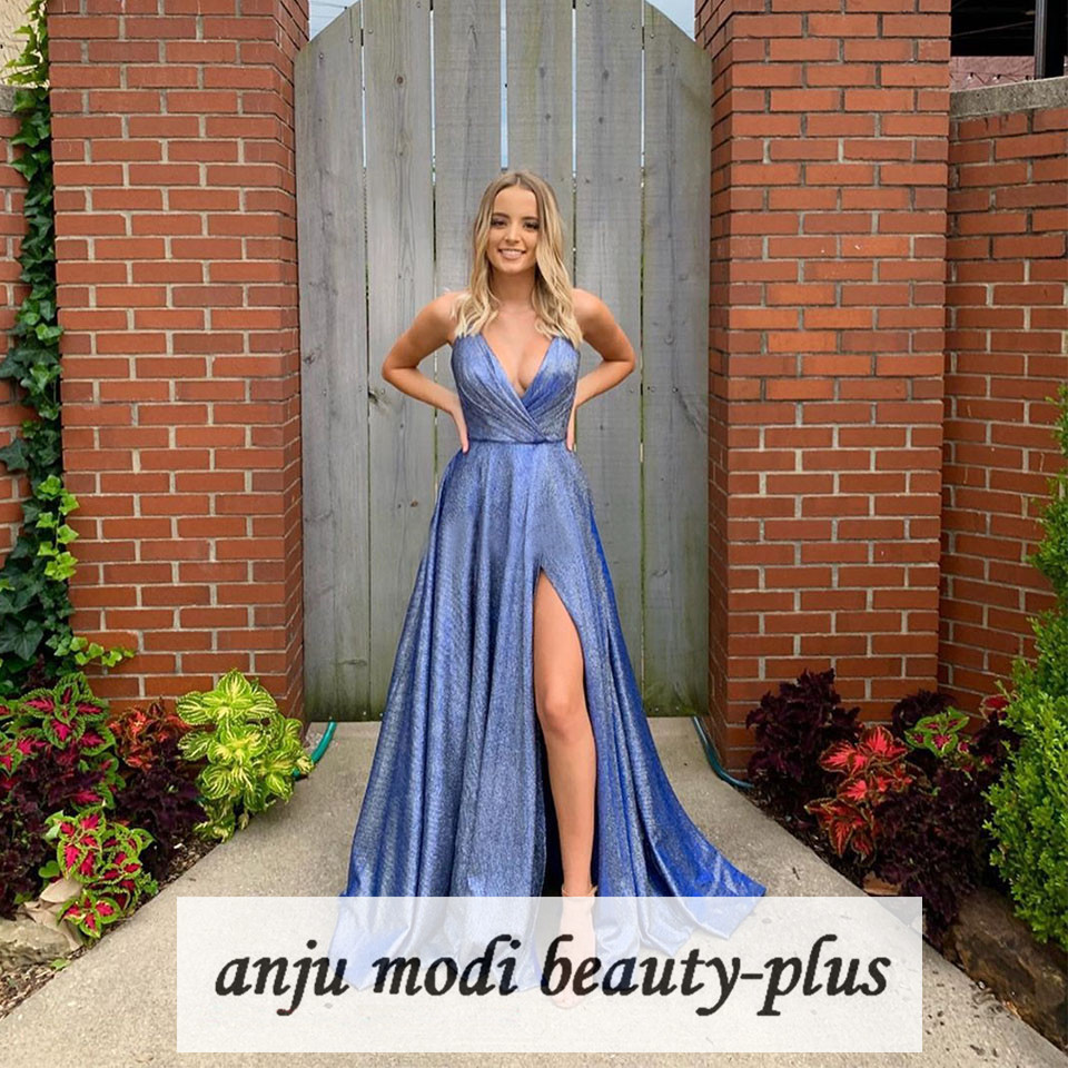 Long Sparkly Glitter V Neck Prom Dresses With Pockets Sleeveless High Split Formal Evening Party Ball Gowns Robe De Soiree