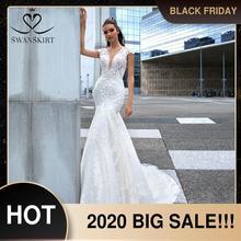 Swanskirt Vestido de novia de sirena con flores 3D, Vestido de novia de sirena con apliques de cuello en V y espalda descubierta, ilusión de princesa, F265, 2020