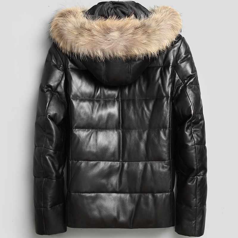 Outono inverno real jaqueta de couro para baixo com capuz jaqueta de couro genuíno guaxinim coleira de pele de cachorro casaco de pele de carneiro quente masculino parkas