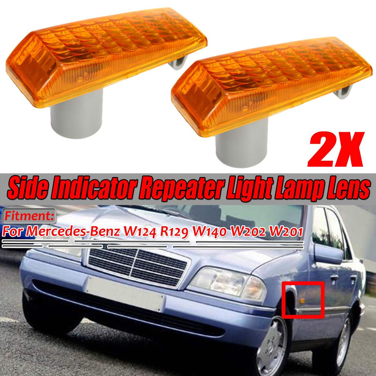 A Pair W124 Car Side Marker Light Indicator Repeater Light Lamp Lens Cover Shell For Mercedes ForBenz W124 R129 W140 W202 W201