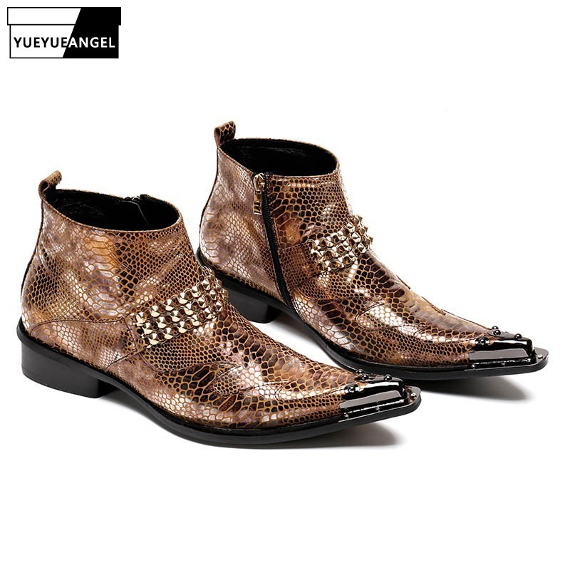 Brand Formal Mens Snake Ankle Boots Metal Pointed Toe Rivet Punk Shoes Man Genuine Leather Luxury Office Party Banquet Footwear