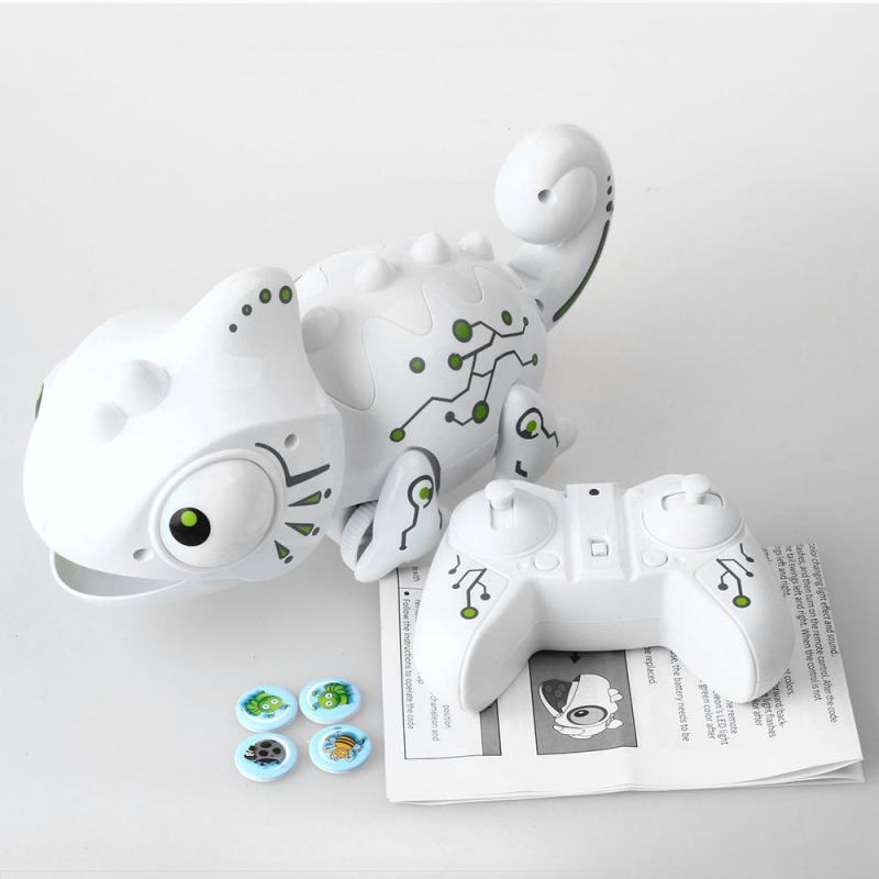 RC Chameleon Lizard Pet 2.4 G Intelligent Robot Toy Chameleon Pet Changeable Light Remote Control Toy Kids Birthday Xmas Gift