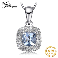 JewelryPalace Cushion Cut 0.8ct Natural Aquamarine Pendant 925 Sterling Silver Pendant Fashion Jewelry for Women jewelrypalace luxury pear cut 7 4ct created emerald solid 925 sterling silver pendant necklace 45cm chain for women 2018 hot