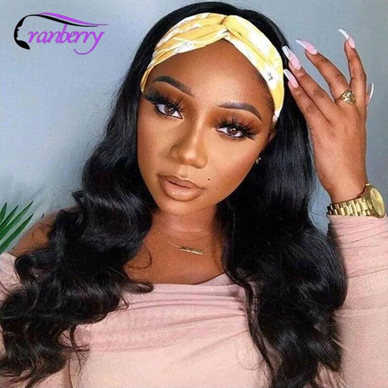 Клюквенный волнистые волосы, для придания объема парик с головной повязкой парики из натуральных волос для черный Для женщин доступная Рем...