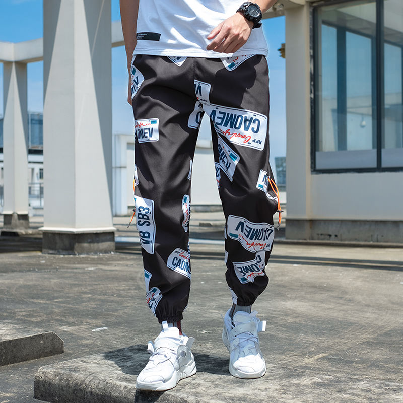 Spring 2019 New European And American Sports Baggy Feet Nine-minute Pants Young Print Casual Pants Cargo Pants Man